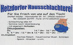 Hetzdorfer Hausschlachterei - Fleischerei Müller